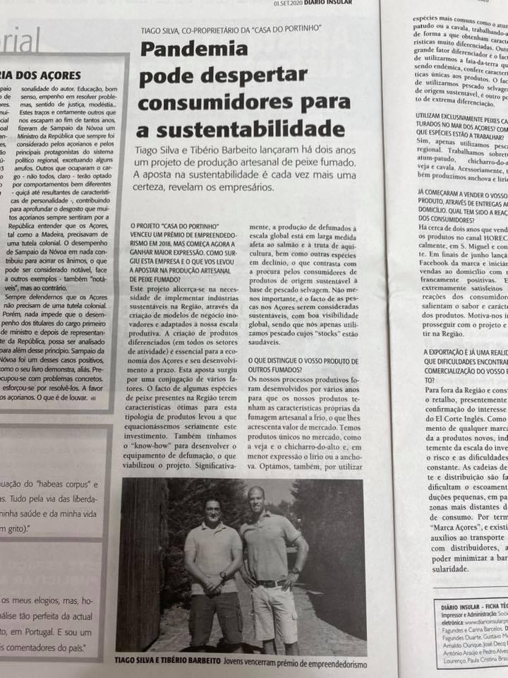 Recorte do Jornal Diário Insular com entrevista aos fundadores da casa do portinho