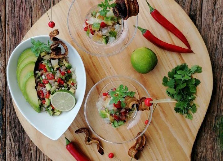 Smoked Parrotfish salad with avocado and banana chips